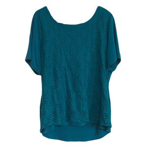 Teal Blue High-Low Lace Front Tee 1X